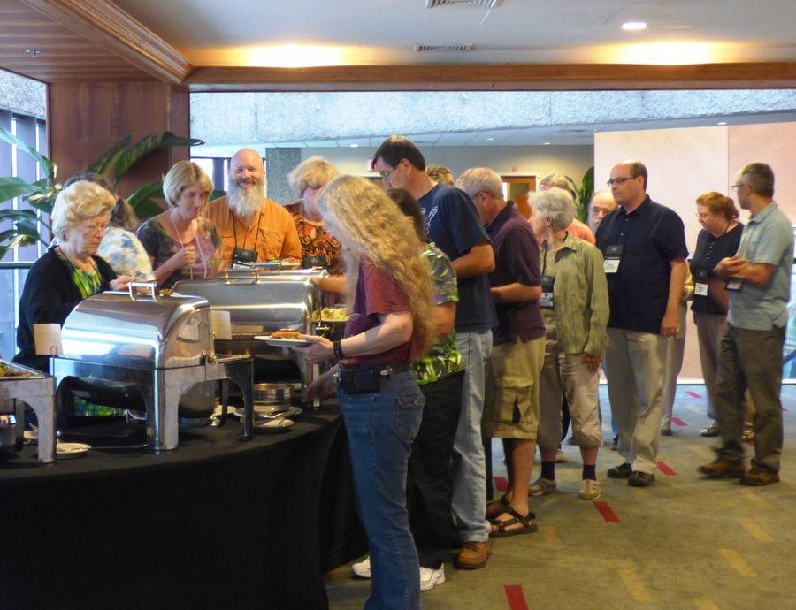 Buffet line for dinner