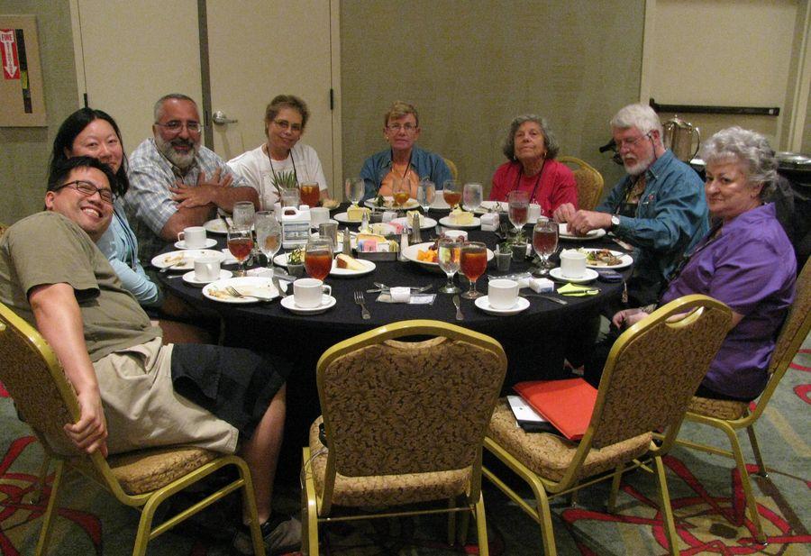 Group socializing over dinner