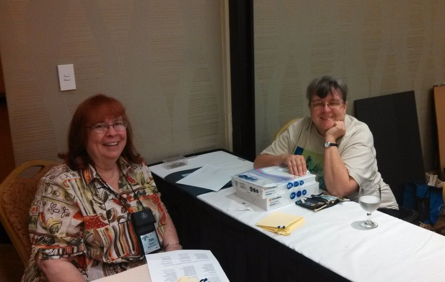 Flower Show Chair Karyn Cichocki (right) with Dale Martens helping during judging