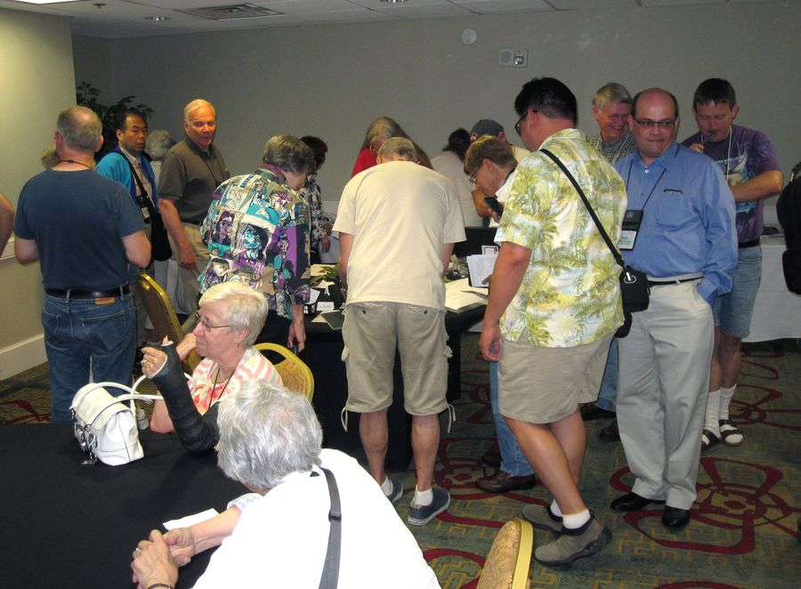 Silent Auction room busy just before closing time