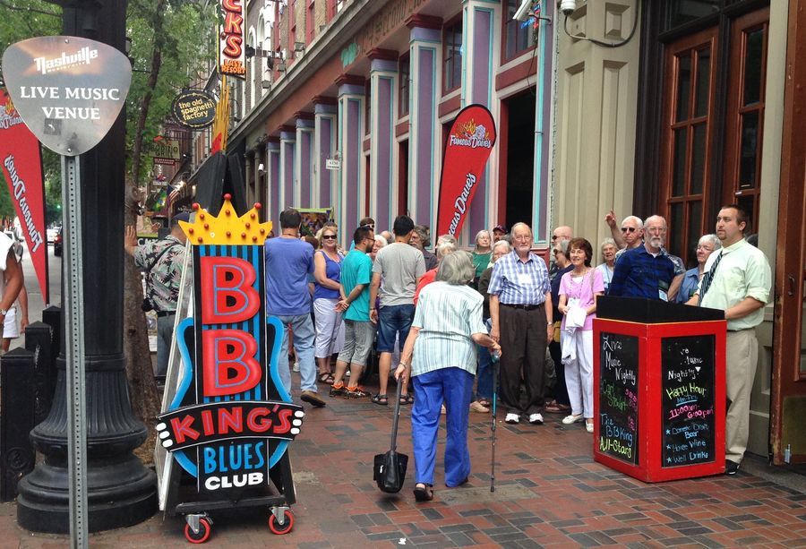 Group waiting to enter BB King's Blues Club for dinner and entertainment