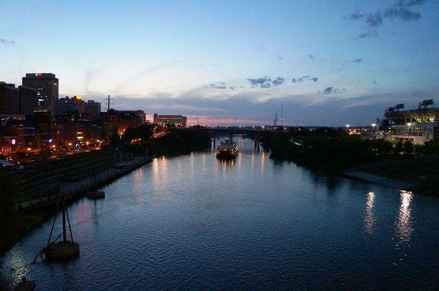 Nashville at night along the Cumberland River – we said good night and goodbye till next time