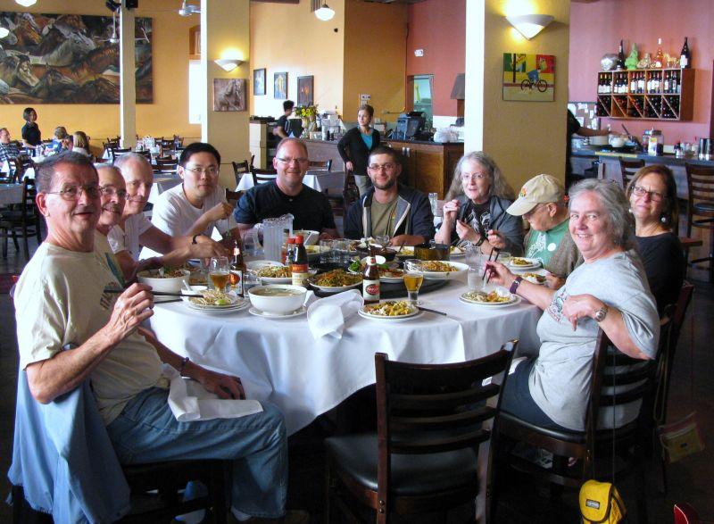 After arriving back in Oakland, group enjoying dinner out