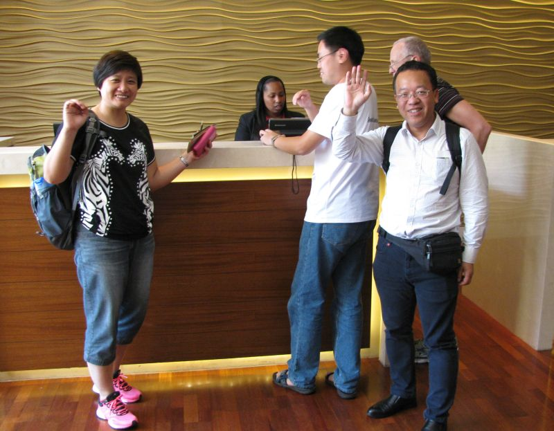 Registrants from China arriving at the hotel for check-in