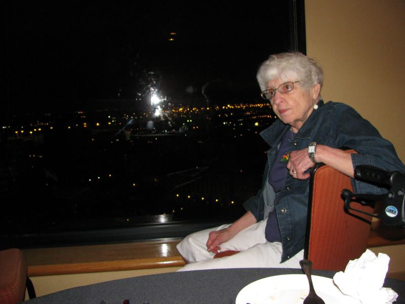 Fay Wagman watching the end of the fireworks on Saturday night