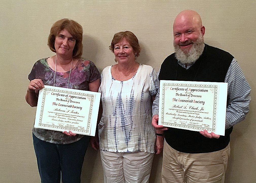 Award of Appreciation recipients Becky Fontes and Bob Clark with committee chairperson Molly Schneider (recipient Anton Weber not present)