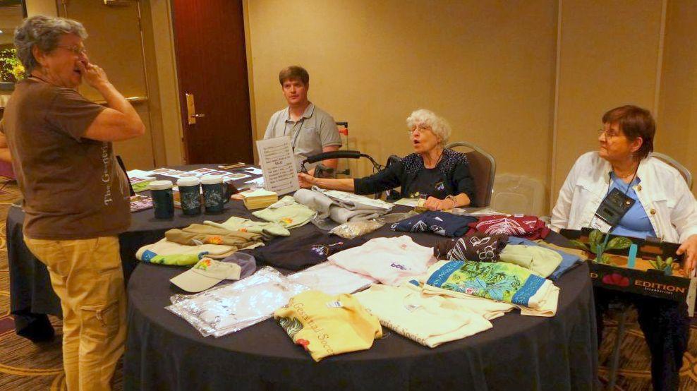 The merchandise sales team: Carol Ann Bonner, Jeremy Keene, Fay Wagman and Sylvia Svitak