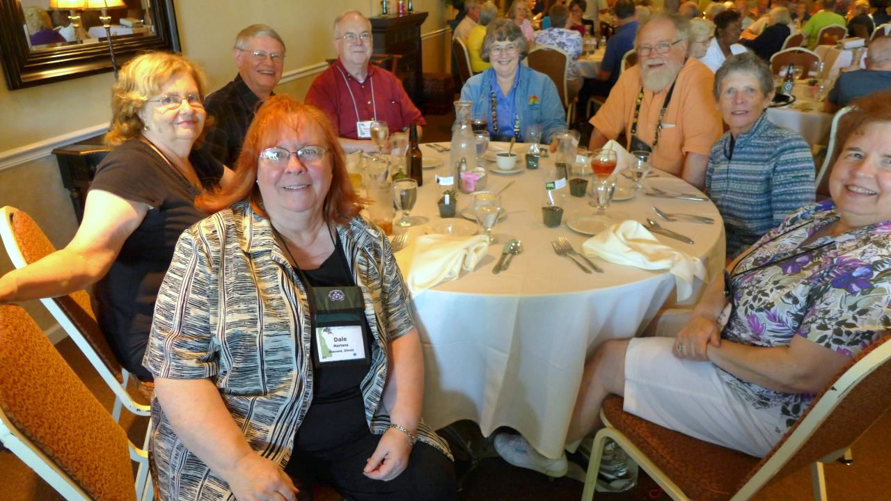(from front left) Dale Martens, Mary Schaeffer, Gary Hunter, Quentin Schlieder,  Dee and Bob Stewart, Judy Becker and Marilyn Heinrich