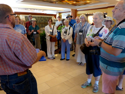 Events Chair Scott Evans giving instructions for the Tuesday garden tour