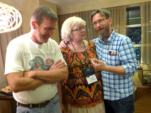 Chapter hosts Tom Bruning and Brandon Erikson with Irina Nicholson