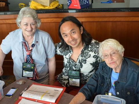 Convention Registrar Mary Helen Maran, Hector Wong, Fay Wagman
