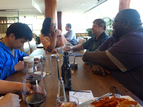 Qui Zhi-Jing, Hector Wong, Randy Deutsch and Alcie Maxwell enjoying a casual dinner at the hotel bar lounge