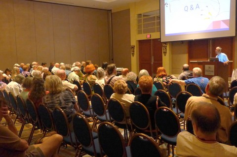 Answering questions from the audience at the end of the seed presentation