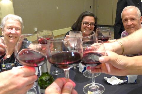 A banquet toast!Doris Brownlie, Deanna Belli, Bill Price and others