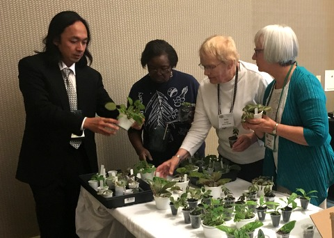 Discussing plants that Hector Wong brought for door prizes