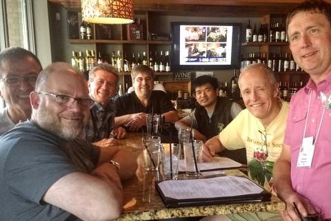 Winston Gorestsky, Leonard Re, Stephen Maciejewski, Randy Deutsch, Qiu Zhi-Jing, Bill Price and Tom Bruning at Nosh