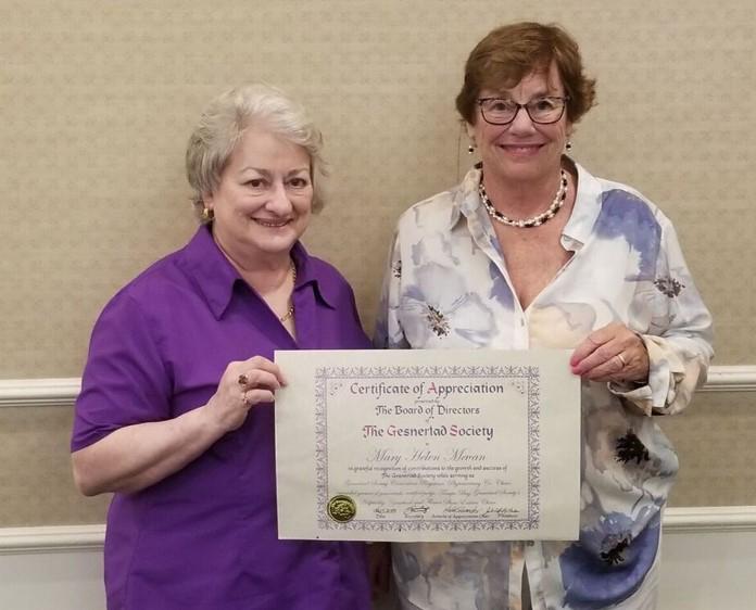 Mary Helen Maran receiving 2018 Award of Appreciation