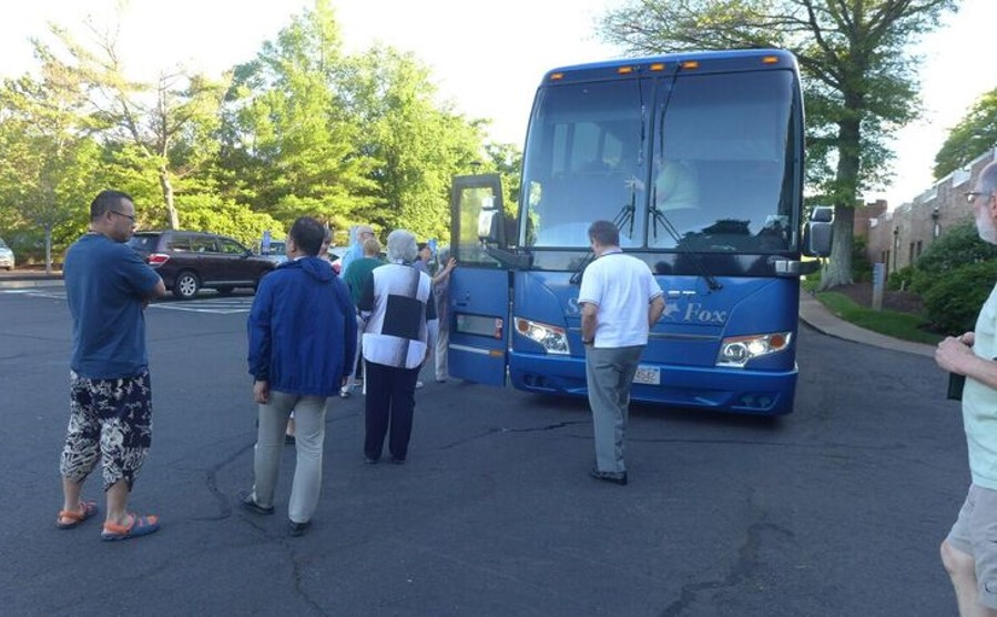 Boarding the bus for the Saturday evening closing dinner