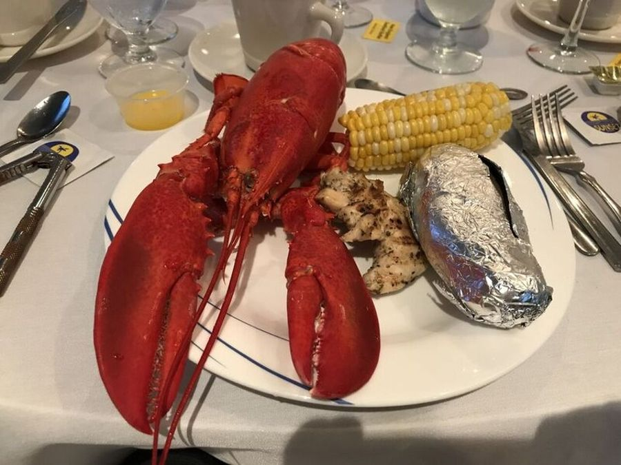 New England seafood buffet main course