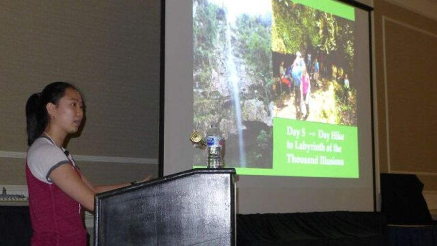 """Student Emily Guo presenting """"Approaches for Studying Plant Diversity"""""""