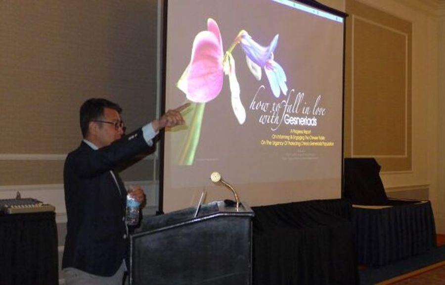 """Student Martin Siaw from China presenting  """"How to Fall in Love with Gesneriads"""""""